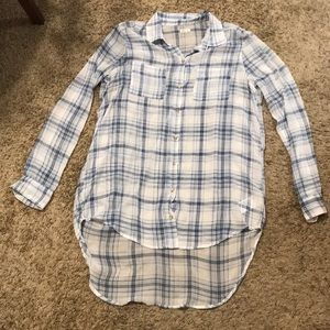 Large hollister blue and white plaid shirt